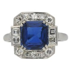 1935 Art Deco sapphire diamond platinum ring | From a unique collection of vintage engagement rings at https://www.1stdibs.com/jewelry/rings/engagement-rings/