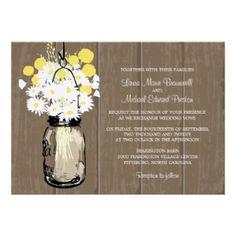 Mason Jar With Wild Daisies & Yellow Billy Balls Custom Wedding Announcement Cards