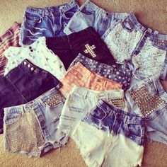 I'm pretty sure I can make these. (: I can dip dye, stud, sew lace onto, and distress high waisted jeans I find at thrift stores.