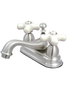 Cumberland Centerset Bathroom Faucet With White Porcelain Cross Handles |  House Of Antique Hardware