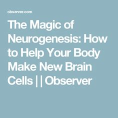 The Magic of Neurogenesis: How to Help Your Body Make New Brain Cells |  | Observer