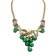 Grace Emerald Green and Diamante Necklace £12.00  This graceful little number may suit a lady with a passion for the outdoors. The necklace has been created in a leaf design, which is accentuated by gorgeous, scattered emerald green stones. The necklace can be worn for everyday use, it would, however, make a great evening necklace to show off the neckline on a night out and it's certainly a date-worthy accessory.