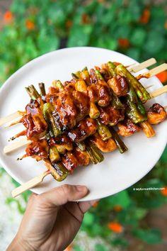 Korean Chicken Skewers (Dakkochi) - My Korean Kitchen Grilling Recipes, Beef Recipes, Chicken Recipes, Turkey Recipes, Healthy Breakfast Recipes, Lunch Recipes, Healthy Recipes, Healthy Food, Sweets