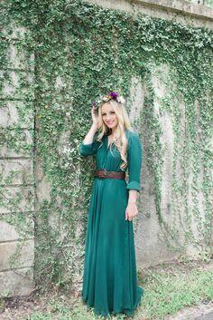Modest full length sleeve green maxi dress | Mode-sty