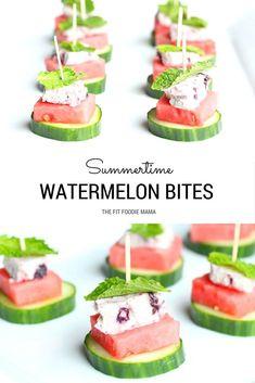 Summertime Watermelon, Cucumber, Blueberry Goat Cheese & Mint Bites ...