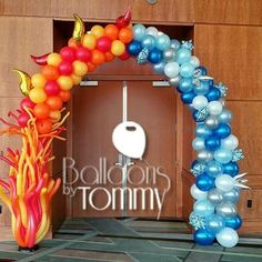 Fire and Ice themed balloon arch for a Fire and Ice themed banquet | Balloons by Tommy
