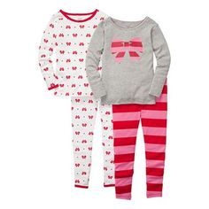 Carter's® 4-pc. Bow & Striped Pajamas - Girls 12m-24m - jcpenney