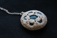 Turquoise circle flower motif pendant by FuchsiaFoxStudio on Etsy