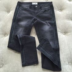"""Free People Leather Like Trimmed Jeans These are so super sexy black, faded leather trimmed jeans! Never worn!! The whole outside leg is trimmed with leather. It has a worn look and fits super sexy! Hugs every curve! Stretchy and skinny fit. Please feel free to ask questions about measurements. Inseam measures 28"""". Free People Jeans"""