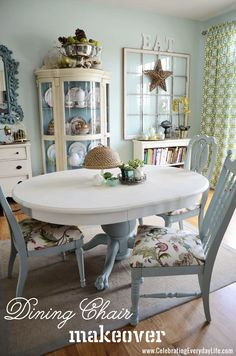 How to Recover a Dining Room Chair with Celebrating Everyday Life blog
