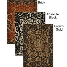 @Overstock - This Amalfi Paradise Area Rug is a beautiful, contemporary rug made in a durable and easy to clean heat-set olefin. This rug is of a rich brick, black or brown/gold background color with beige and ivory accents.http://www.overstock.com/Home-Garden/Amalfi-Paradise-Area-Rug-21-x-34/7018681/product.html?CID=214117 $26.09
