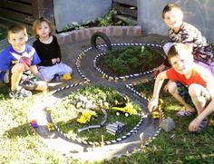 Learn how to make a Backyard Race Car Track for the kids. This is an easy DIY and it will keep the family entertained for hours. Get the tutorial now. Outdoor Car Track For Kids, Car Tracks For Kids, Kids Outdoor Play, Kids Play Area, Backyard For Kids, Outdoor Toys, Backyard Ideas, Desert Backyard, Sloped Backyard