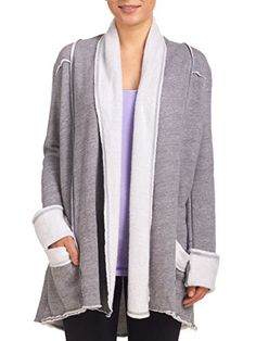 Hard Tail Sherpa Slouchy Cardigan Heather Grey Large ** Learn more by visiting the image link.