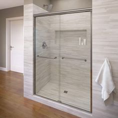 Basco Infinity 47 in. x 70 in. Semi-Frameless Sliding Shower Door in Silver with AquaGlideXP Clear Glass