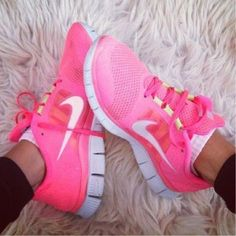 Lovely pink running shoes.