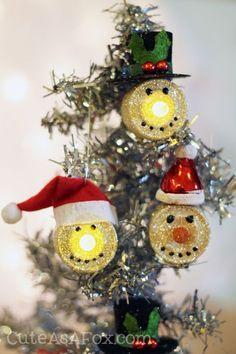 Snowman Tea Light Ornaments by Cute as a Fox | Skip To My Lou