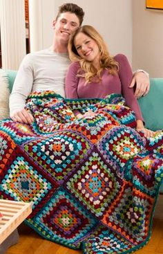 Granny's Classic Throw Free Crochet Pattern in Red Heart Yarns (UK terms)