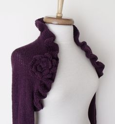 Purple Wedding Bridal Shrug long sleeves With by knittingshop, $78.00