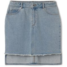 Warp Skirt (4,260 INR) ❤ liked on Polyvore featuring skirts, mini skirts, stretch denim skirt, blue skirt, short mini skirts and blue mini skirt