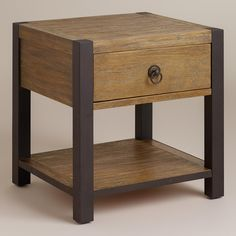 Bronson End Table. Would go perfectly with that barnwood coffee table I want to make. Barnwood Coffee Table, Coffee Tables, Furniture Update, Bedroom Furniture, Guest Bedrooms, Master Bedroom, World Market, Barn Wood, Great Rooms