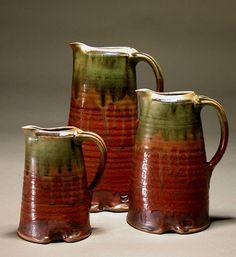oval pitchers David Voll Pottery - nice glaze