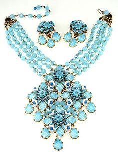 Hagler St. Gielar Aqua Blue Beaded Necklace & Earring Set