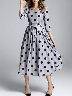 Grey Dot Print Midi Dress