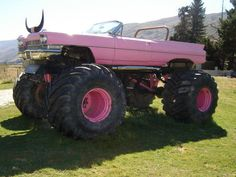 Pink Caddy Monster, Wanaka, New Zealand. Monster Truck on Crown Range Road