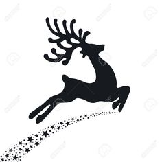Black Reindeer Flying Stars Royalty Free Cliparts, Vectors, And Stock Illustration. Image 22553589.