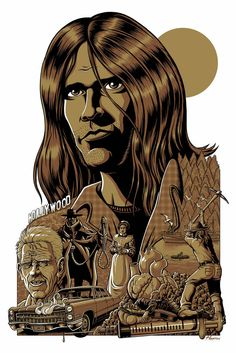 """Class Of 72: Neil Young- Harvest  Created for our Class Of '72 group show by Justin Hampton.  Inspired by the album Harvest by Neil Young.     20 x 30"""" Three Colour limited edition screen print Edition of 125"""