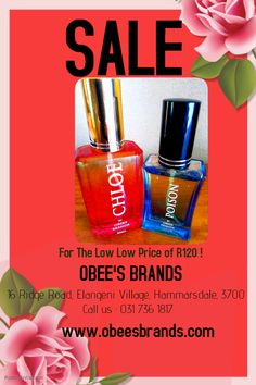 With Valentine's Day fast approaching , Get Her the Perfect Gift . We have Perfumes on Sale at a Low Price of R120 ! To get one , just Call Us at the number you see above or alternatively send us an e-mail at obed@obeesbrands.com or obeesthabane@gmail.com