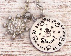 Hand Stamped Let it Snow Snowman Necklace  by lilybrookevintage, $36.00