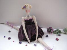 Ballerina doll - gift for girls,Tilda,Doll,Handmade,Gift for birthday,Christmas Gift, Art doll,Shabby chic,home decore,lilac