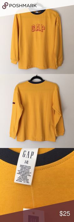 b8f4aab80f669a Description  Set of 2 GAP Long Sleeve Shirts Colors  1 Grey and 1 Yellow  Size  Large Cotton NWT - Brand New.