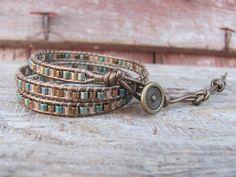 Wrap Bracelet, 3x Wrap Beaded Leather Bracelet,  Boho Triple Wrap Bracelet, Leather Wrap Beaded Bracelet