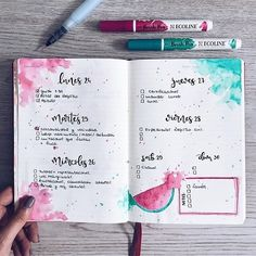 Weekly Bullet Journal Spread with Watermelon