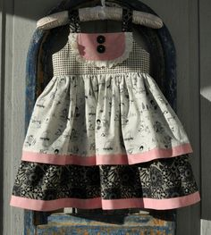 """Tickled Pink Girls 2011 Custom dresses """"Puppy Love"""" pinned by Marci Girls Dresses Sewing, Little Girl Dresses, Sew Baby, Baby Sewing, Infant Dresses, Kids Outfits, Cute Outfits, Kids Frocks, Baby Doll Clothes"""