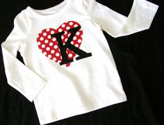 Girls or womens shirt with personalized birthday number or Valentine initial applique sizes girls NB Toddler Valentine Shirts, Valentines Day Shirts, Valentines For Kids, Valentine Ideas, Shirts For Girls, Kids Shirts, Valentinstag Shirts, Vinyl Shirts, Personalized T Shirts