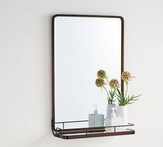 Vintage Mirror With Shelf Antique, Bronze Bathroom Mirror With Shelf, Cozy Bathroom, Basement Bathroom, Bathroom Ideas, Small Bathroom Furniture, Glass Tv Stand, Classic Cabinets, How To Clean Mirrors, Shaker Furniture