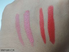 Nykaa Matte-ilicious Crayon Lipstick in Pink On Fleek and Hot As Red - BEAUTY GRIN Crayon Lipstick, Beauty Review, Leaf Tattoos, Swatch, Hot, Pink, Pink Hair, Roses