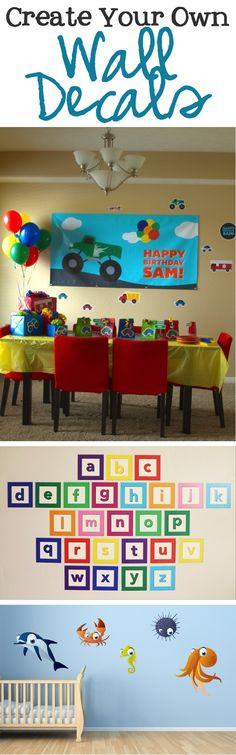 Create your own custom wall decals for birthday parties, home schooling or kids room decor | www.signs.com