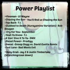 Power Playlist- great workout music
