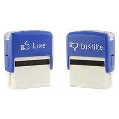 """Don't be shy- state your opinion!  You can now do so emphatically with this Like and Dislike Stamp set.    This set of two self inking stamps are good for up to 5,000 assertions.  Set of 2 stamps: 1 Like and 1 Dislike.  Each stamp is approximately 3""""h x 2.5"""" w x 1.5"""" d."""