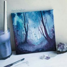 Its getting chilly here, so happy times wrapped up in my studio….Its getting chilly here, so happy times wrapped up in my studio. I think the cold weather has brought out my stash of blues and… Galaxy Painting, Galaxy Art, Fantasy Paintings, Fantasy Art, Painting Inspiration, Art Inspo, Art Watercolor, Art Anime, Call Art