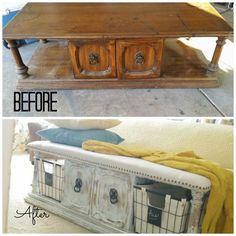 Upholstered Bench from a Coffee Table · Addison Meadows Lane Makeover an old coffee table into a bench! Such a great idea for an end of bed bench. May be a decor DIY project for this weekend. Refurbished Furniture, Repurposed Furniture, Furniture Makeover, Painted Furniture, Chair Makeover, Door Makeover, Refurbished Coffee Tables, Handmade Furniture, Furniture Projects