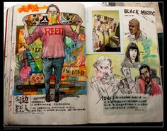 """Sketch Book - There are beautiful drawings by Chinese illustrator Reeo Zerkos. A must-see is a stop-motion video within post titled, """"The Magic in Book."""" Below: """"The Magic in Book,"""" a film by Reeo Zerkos. Artwork © Reeo Zerkos Via Doodlers Anonymous Sketchbook Layout, Sketchbook Drawings, Sketchbook Pages, Art Sketches, Ink Drawings, Drawing Faces, Kunstjournal Inspiration, Sketchbook Inspiration, Knights Of The Zodiac"""