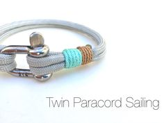 Twin Paracord  Nautical bracelet with stainless steel  D shackle No.4 by Startimagine on Etsy