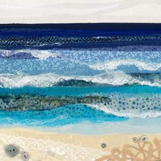 Alison is a Devon based textile artist inspired by the coast and countryside. Fiber Art Quilts, Textile Fiber Art, Textile Artists, Art Quilting, Ocean Quilt, Beach Quilt, Freehand Machine Embroidery, Embroidery Art, Collages