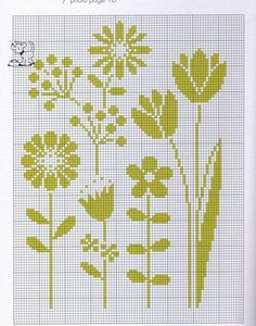 flowers pattern / chart for cross stitch, crochet, knitting, knotting, beading, weaving, pixel art, and other crafting projects