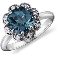 Blue Nile London Blue Topaz and Diamond Flower Ring in 14k White Gold ($950) ❤ liked on Polyvore